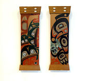 Pair Of Northwest Coast Native Carved And Painted Cedar Panels