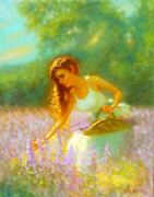 Original Landscape Painting Beautiful Young Female Girl Woman Picking Flowers