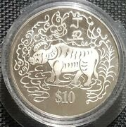 1997 Singapore 10 Dollaryear Of Ox Zodiac Proof Coin Andoslash40mm+free1 Coin12466