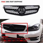 Amg Style Glossy Black Grille For Mercedes Benz W204 C-class C250 C300 08-14