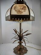 29 Vintage Currier And Ives Winter Scene Farm 6 Side Glass Table Lamp