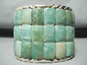 One Of The Biggest Best Native American Green Turquoise Sterling Silver Bracelet