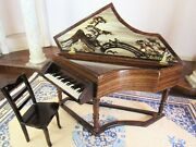 Dollhouse Miniature Spinet Piano - Ralph Partelow Artisan Signed Hand Painted M