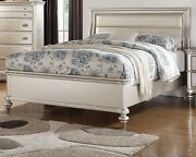 Silver Formal Bedroom Antique Cal King Size Bed Upholster Headboard Faux Leather