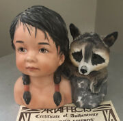 Vintage Perillo Dark Eyed Friends Porcelain Figurine Child And Racoon 1989