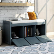 Storage Bench W/removale Cushionand3 Flip Lock Storage Cubby Living Room Entryway
