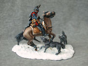 French Cuirassier Fighting Wolves 1812. Elite Tin Soldiers. Scale 1/32 54 Mm.