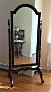 Antique Mahogany Cheval Dressing Mirror, Beveled And Carved Standing Floor Mirror