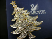 Signed Crystal 2000 Christmas Tree Pinbrooch Retired New In Box