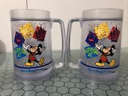 Vintage Disney Thermo-serv Water Freeze Mug 1985 Mickey Mouse Pair Of 2
