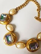 Vintage Ysl Yves Saint Laurent Pearls And Watermelon Faceted Crystal Necklace 80s