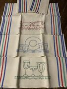 Five Vintage Starched Striped Linen Dish Towels With Embroidery 17andrdquox 27andrdquo