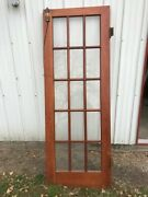Pair Antique [ French Doors ] Solid Wood 15 Windows With Hardware 81 1/2 X 30
