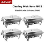 Chafer Chafing Dish Sets W/ Foldable Legs Stainless Steel Pans 9l/8q 4pack Gfs