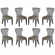 Suite Of 8 Curved Back Coach House Chairs Ltd Dining Chairs Chesterfield Button