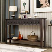 Rustic Entryway Console Table Long Sofa Table With Storage Drawers Shelf Black