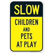 Children And Pets At Play Sign, Slow Down Sign,