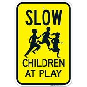 Slow Children At Play Sign, Traffic Sign,