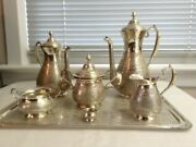 Antique Persian Silver 7-piece Coffee And Tea Service Including Matching Tray