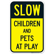 Slow Children And Pets At Play Sign, Traffic Sign,