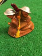 Vintage Barclay Manoil Lead Toy Soldiers Crossing River In Small Boat Minty