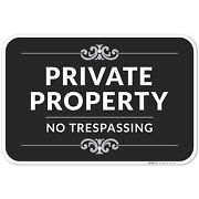 Private Property No Trespassing Sign Decorative Style