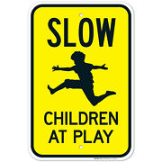 Slow Down Children At Play Sign, Traffic Sign,