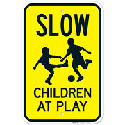 Slow Children At Play Sign With Football Warning Sign, Traffic Sign,