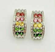 14k White Gold Multi Color Sapphire Diamond Curved Earrings And Prong Set 9.5 Gm