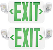 2-pack Green Ul Listed Emergency Led Exit Sign Two Rotatable Lamp Battery Backup