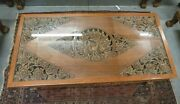Asian Hand Carved Solid Teak Peacock Coffee Table And 2 Matching End Tables Pin