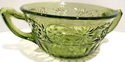 Gorgeous Small Green Depression Ware Glass Sugar Bowl No Lid 2 Handles Great