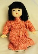 Vintage Japanese Ichimatsu Doll In Red Kimono Can Be Undressed Glass Eyes 10 Tl