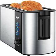 Ikich Toaster 4 Slice Toaster 2 Long Slot Stainless Steel Warming Rack 6 Brow