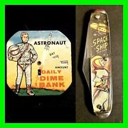 Vintage Toy Bank Astronaut Daily Dime Bank And Spaceship Pocket Knife Mint Cond.