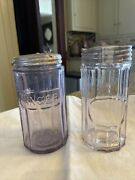 Vintage Hoosier Spice And Ginger Jar Purple Amethyst Tint With Bubbles, Lot Of 2