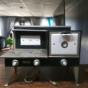 Vintage 1930's Empire Metal Ware Corp. Porcelain And Tin Electric Toy Stove Oven