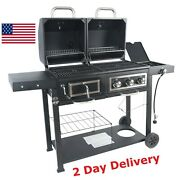 Revoace Dual Fuel Grill Charcoal And Gas Black Stainless Steel Outdoor Bbq Usa