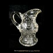 Antique Abp Brilliant Cut Glass Footed Water Pitcher Thumbprint Pattern