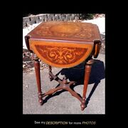 Antique French Marquetry Inlay Brass Edging Drop Leaf Table