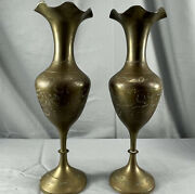 Pair Solid Brass Vase Floral Etched Black Gold Scalloped Top India Ruffled Edge