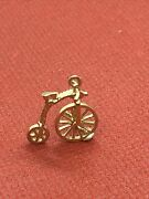 Vintage 1976 Solid 375 9ct Gold Spinning Wheel Penny Farthing Charm 1.6g