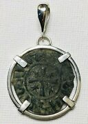Ancient Coins Of The Crusades Roman Bronze Coin Sterling Silver Pendant 45