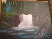 Waterfall And Forest Landscape Oil Painting