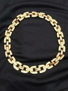 Authentic Vintage Christian Dior Gold Tone Necklace Henkel Grosse With Crystals