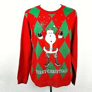 Jolly Sweaters Ugly Christmas Sweater Holiday Camouflage Santa Red Green Mens Xl