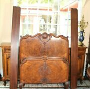 English Antique Victorian Burled Walnut Twin Size Bed | Bedroom Furniture