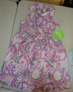 Classic Whimsy Paisley Mod Purple And Pink Retro Print Tie Front Dress 6 Nwt