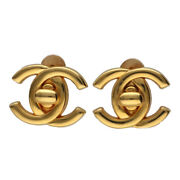 Authentic Used Vintage Earrings Turn Lock Coco Mark Brass Cc 21006536si