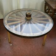 Authentic Wagon Wheel Table With Plexiglass Top. Coffee Table